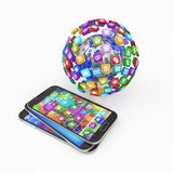 Smartphones with cloud of application icons Royalty Free Stock Images