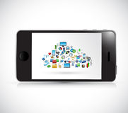 Smartphones and cloud computing icons. Royalty Free Stock Image