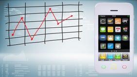 Smartphones com gráfico de mudanças de preço Fotos de Stock