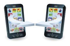 Smartphones communicating. Via wireless technology concept Stock Photos