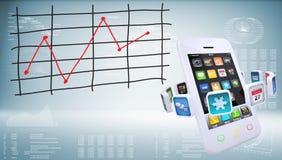 Smartphones con il grafico dei cambiamenti di prezzi immagine stock