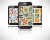 Smartphones con la carta da parati sul tema del soc Fotografie Stock