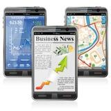Smartphones con le varie applicazioni Fotografia Stock