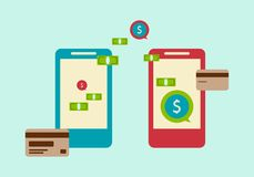 Modern technologies. money transfer /Icon/. Smartphones, credit cards, currency. Concept-money transfer Stock Photo
