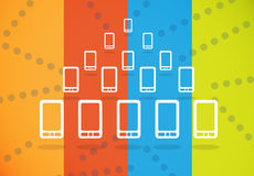 Smartphones crowd group. Crowd with smartphones in a pyramid setting connected on a colored background Royalty Free Stock Photos