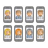 Smartphones da coleção de arte do pixel Fotografia de Stock Royalty Free