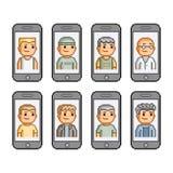 Smartphones da coleção de arte do pixel Imagem de Stock