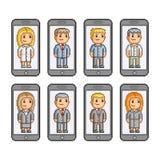 Smartphones da coleção de arte do pixel Fotos de Stock