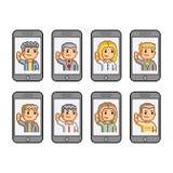 Smartphones da coleção de arte do pixel Imagens de Stock