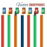 Smartphones dans des mains Concept mobile d'apps Vecteur Images libres de droits