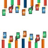 Smartphones dans des mains Concept mobile d'apps Vecteur Photos libres de droits