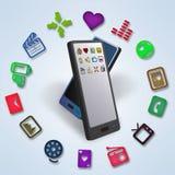 Smartphones Daten-und Inhalts-Übertragung Stockfotos