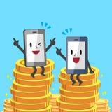 Smartphones de bande dessinée se reposant sur des pièces de monnaie d'argent Photographie stock libre de droits