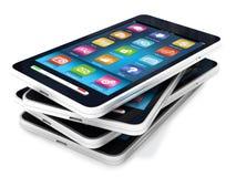Smartphones de la pantalla táctil Imágenes de archivo libres de regalías