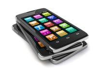 Smartphones de la pantalla táctil (trayectoria de recortes incluida) Fotos de archivo