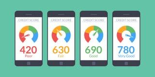 Smartphones della raccolta con il punteggio di credito app sullo schermo nello stile piano Informazioni finanziarie sul cliente V illustrazione di stock