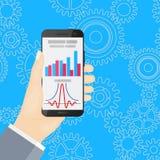 Smartphones in den Händen Flad-Design Lizenzfreies Stockfoto