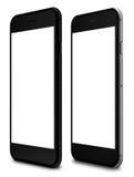 Smartphones in der schwarzen und schwarzen Polierfarbe mit leerem Bildschirm Lizenzfreies Stockbild