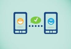 Smartphones di collegamento Fotografia Stock Libera da Diritti