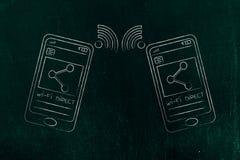 Smartphones die inhoud met direct WiFi overbrengen vector illustratie