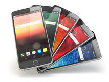 Smartphones with different screens  on white. Mobile com Royalty Free Stock Photos