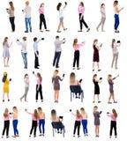 Smartphones e compresse posteriori di uso della gente di vista della raccolta Fotografia Stock Libera da Diritti
