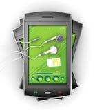 Smartphones e fones de ouvido pretos. Imagem de Stock