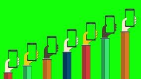 Smartphones en manos Concepto móvil de los apps almacen de metraje de vídeo