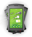 Smartphones et écouteurs noirs. Image stock