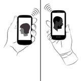 Smartphones gör kommunikation lätt Fotografering för Bildbyråer