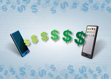 Smartphones Geld und zufriedene Übertragung stock abbildung