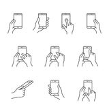 Smartphones gesture icons. Gesture icons for smartphones. Simple outlined vector icon set for a mobile app user interface or manual. Linear style Stock Photo