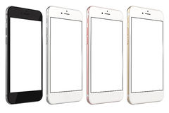 Smartphones gold, rose, silver and black. Set of four smartphones gold, rose, silver and black with blank screen, isolated on white background. Real camera, high Stock Images
