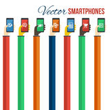 Smartphones in hands. Mobile apps concept. Vector. Royalty Free Stock Images