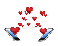 Smartphones and hearts communication concept Royalty Free Stock Photos