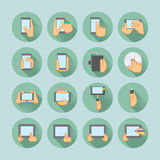 Smartphones i pastylek ikony set Zdjęcie Stock