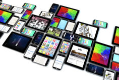 Smartphones i pastylek kolekcja odizolowywająca ilustracji