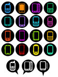 Smartphones Icons in vivid colors Royalty Free Stock Photos