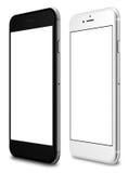 Smartphones im Schwarzen und in der Silberfarbe mit leerem Bildschirm Lizenzfreie Stockfotos