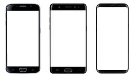 Smartphones isolated with blank screen. Smartphones, mobile phones isolated with blank screen, set of vector mockups Stock Photography