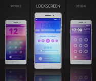 Smartphones Lock Screen Designs. With user interface including icons menu music player and password 3d vector illustration Royalty Free Stock Photos