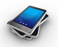 Smartphones móviles negros - 3d rinden Imagen de archivo libre de regalías