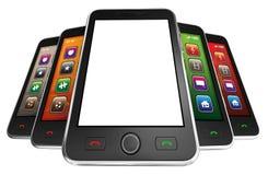 Smartphones móviles negros - 3d rinden Foto de archivo libre de regalías
