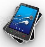 Smartphones móviles negros - 3d rinden Imagen de archivo