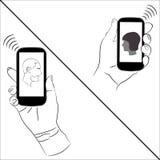 Smartphones machen Kommunikation einfach Stockfoto