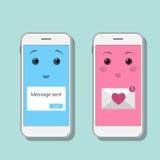 Smartphones mignons avec des messages de sms Mobiles de Kawaii dans des couleurs bleues et roses Causerie mobile, message en lign Image stock