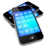 Smartphones mit blauem Schirm Stockfotografie