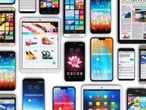 Smartphones, mobiele telefoons en tabletcomputers stock foto's