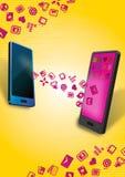 Smartphones mobil dataöverföring Royaltyfri Bild