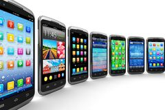 Smartphones and mobile applications Royalty Free Stock Photography